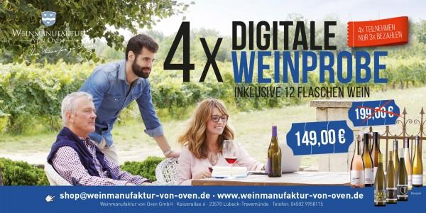 4x digitale Weinprobe inkl. 12 Flaschen Wein